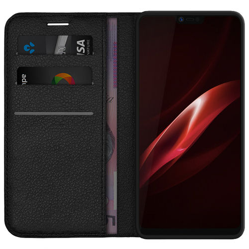 Leather Wallet Case & Card Holder Stand for Oppo R15 Pro - Black